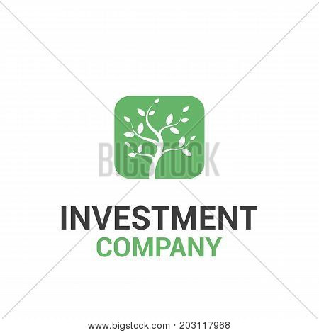 Vector logo template for investment or credit company. Finance logotype. Illustration of a tree a symbol of growth.
