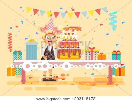 Stock vector illustration cartoon character child lonely blonde girl celebrate happy birthday, congratulating give gifts, huge festive cake with candles and confetti flat style on beige background
