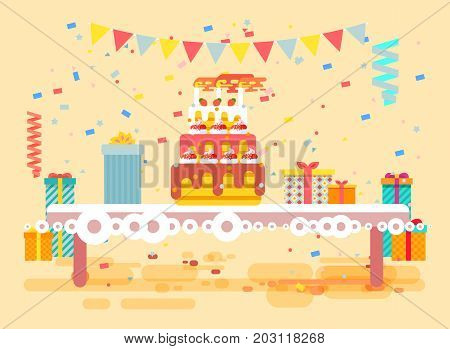 Stock vector illustration huge festive cake with candles on table, confetti, celebrate happy birthday, congratulating, gifts, flat style on beige background element for website, banner, motion design