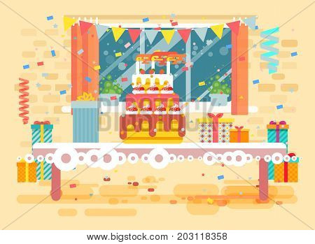 Stock vector illustration huge festive cake with candles on table, confetti, celebrate happy birthday, congratulating, gifts, flat style on window background element for website, banner, motion design