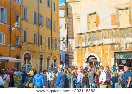 Crowded Street Of Rome, Italy