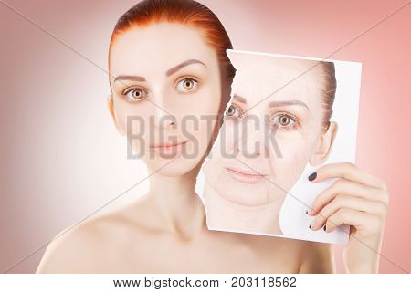 skin lifting red haired woman portrait on red