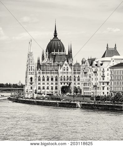 Hungarian parliament building also known as the Parliament of Budapest Hungary. Danube river. House of the nation. Architectural theme. Black and white photo.