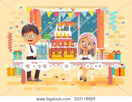 Stock vector illustration cartoon character children, friends, pupils boy and girl celebrate happy birthday congratulating, give gift, huge festive cake with candles flat style on background of window
