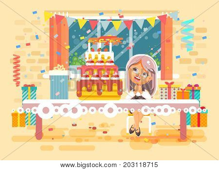 Stock vector illustration cartoon character child lonely blonde girl celebrate happy birthday, congratulating give gifts, huge festive cake with candles and confetti flat style on background of window