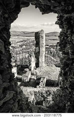 View from the ruins of Divin castle Slovak republic. Travel destination. Black and white photo. Ancient architecture.