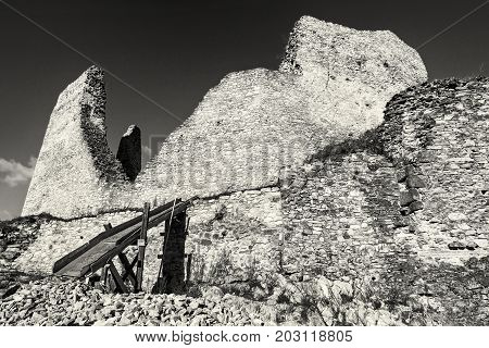 Ruins of Divin castle Slovak republic. Travel destination. Black and white photo. Ancient architecture.