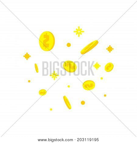 Golden dollar coins falling down on white background. Winning money, fundraising success business concept. Internet banking, mobile payments, deposit, investment, saving symbol. Vector illustration.