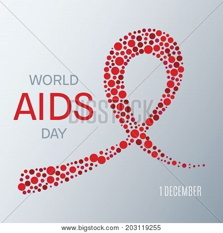 World AIDS day awareness poster. Symbol of acquired immune deficiency syndrome. Red ribbon made of dots on white background. Medical concept. Vector illustration.