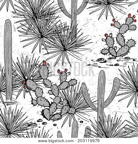 Hand drawn set with saguaro, blue agave, and prickly pear cactus. Latin American background. Mexican landscape Vector illustration.