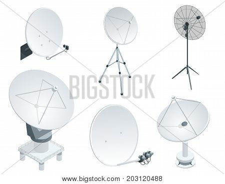 Isometric set Satellite dish antennas on white. Wireless communication equipments. Flat vector illustration. Can be used for workflow layout, game, diagram, number options, web design and infographics