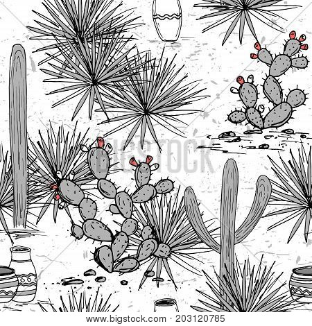 Hand drawn set with tribal ornamented jars, saguaro, blue agave, and prickly pear cactus. Latin American background. Mexican landscape Vector illustration.