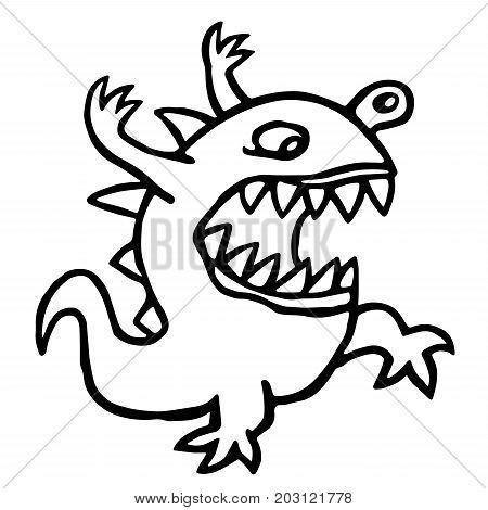 Angry dino. Vector illustration. Cute cartoon character. Funny imaginary animal.