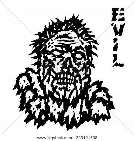 Frenzy evil demon head. Vector illustration. Black and white colors. Genre of horror. Scary character evil face.
