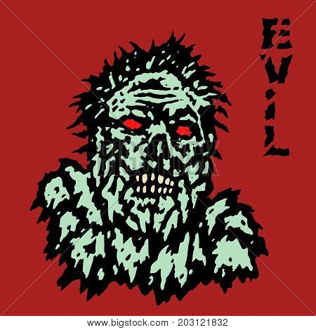 Fury zombie monster face. Horror image. Vector illustration. Genre of horror. Scary character evil head.