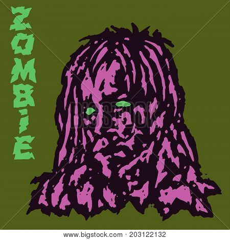 Zombie vampire female. Vector illustration. Scary head of woman character. The horror genre.