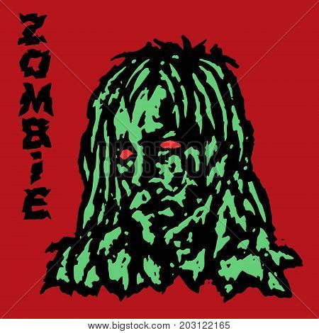 Zombie vampire female. Green face of a demon woman. Vector illustration. Scary head character. The horror genre. Red background.