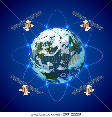 Network and satellite data exchange over planet earth in space. GPS satellite. Flat vector isometric illustration. Wireless satellite technology. World global net.