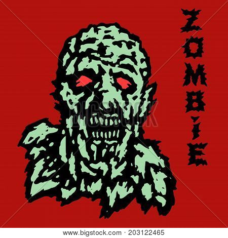 The head of the ghoul zombie. Vector illustration. The genre of horror. Scary character face.