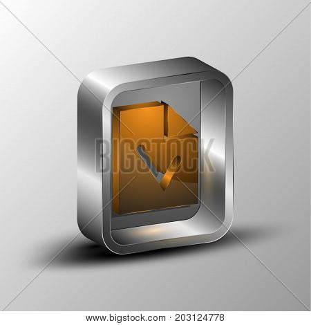 3d illustration of a document in an metal box