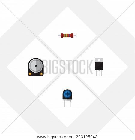 Flat Icon Electronics Set Of Hdd, Resistance, Transducer And Other Vector Objects