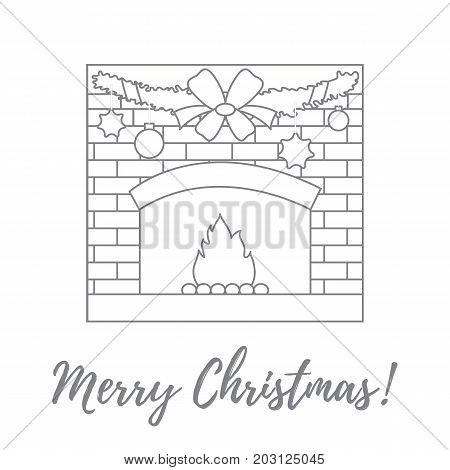 Vector Illustration With Kindled Fireplace, Garland, Christmas Balls And Stars.