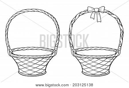 Empty wicker basket with handle decorated with ribbon and bow. Outline black and white vector illustration