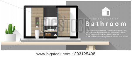 Modern bathroom interior design background , vector , illustration