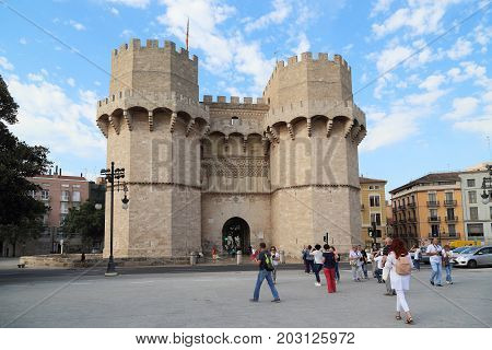 VALENCIA, SPAIN - MAY 18, 2017: The Towers Serranos are the medieval gate of the city fortress walls.
