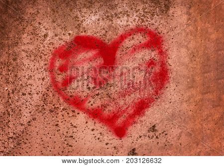 red heart painted on a concrete wall the concept of prison salvation Refugee Silent lonely broken love relationship lonely obstacle platonic one sided