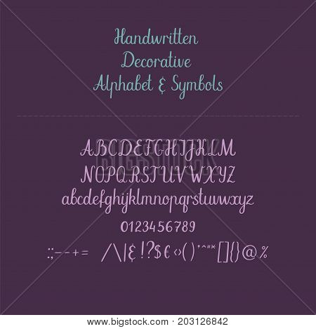 Calligraphiy alphabet. Handwritten abc. Uppercase, lowercase, numbers. Hand lettering font for your design: wedding calligraphy, logo, slogan, window decor, postcard, greeting card, invitation, poster