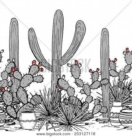 Hand drawn seamless pattern with tribal ornamented jars, saguaro, blue agave, and prickly pear cactus. Latin American background. Mexican landscape Vector illustration.
