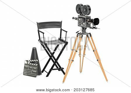 Cinema concept. Movie camera with film reels chair megaphone and clapperboard. 3D rendering isolated on white background