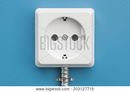 electrical outlet on the blue wall 3D rendering
