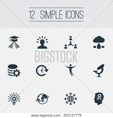 Elements Bulb, Optical Instrument, Globe And Other Synonyms Gear, Expansion And International.  Vector Illustration Set Of Simple Solution Icons.