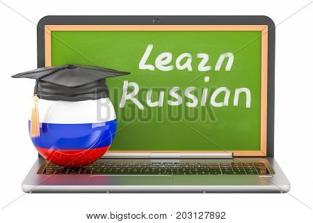 Learn Russian concept with laptop blackboard and graduation cap 3D rendering