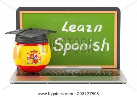 Learn Spanish concept with laptop blackboard and graduation cap 3D rendering