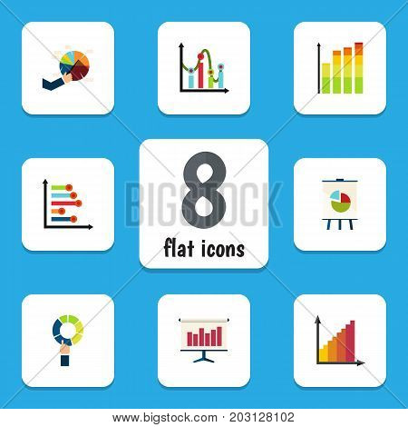 Flat Icon Chart Set Of Pie Bar, Easel, Monitoring And Other Vector Objects