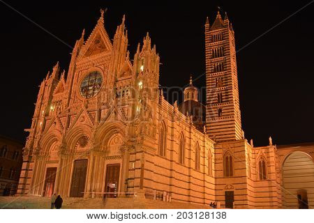 Siena Italy,October 26th 2013.The church in Siena Italy at nighttime.Tuscan architecture at its finest.