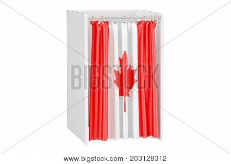 Vote in Canada concept voting booth with Canadian flag 3D rendering isolated on white background