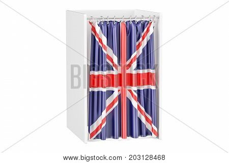 Vote in United Kingdom concept voting booth with British flag 3D rendering