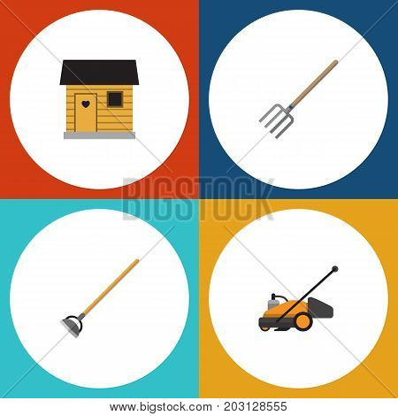 Flat Icon Garden Set Of Hay Fork, Stabling, Tool And Other Vector Objects
