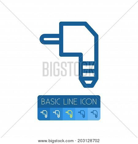 Plug Vector Element Can Be Used For Plug, Cable, Wire Design Concept.  Isolated Cable Outline.