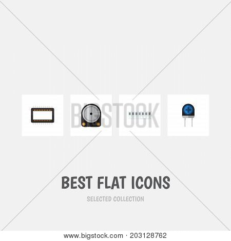 Flat Icon Device Set Of Mainframe, Transducer, Hdd And Other Vector Objects