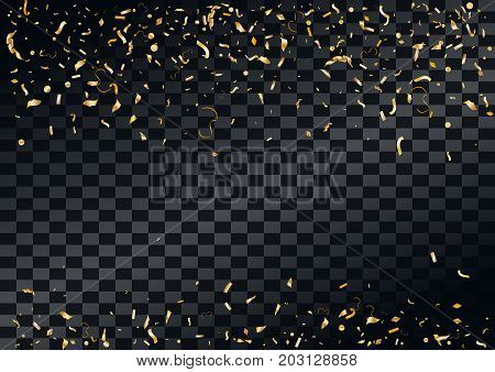 Abstract background with flying in the air scattered golden confetti. Blank holiday event celebration template. Vector illustration isolated on transparent background.