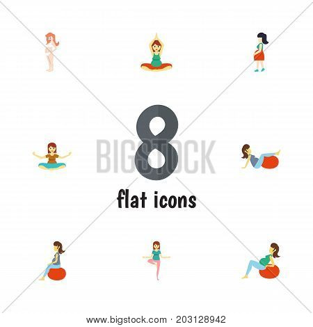 Flat Icon Pregnancy Set Of Mother, Sport, Pregnancy And Other Vector Objects