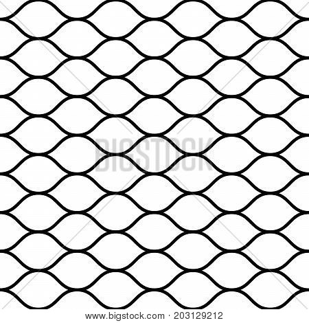 Seamless wired netting fence. Simple black vector illustration on white background.
