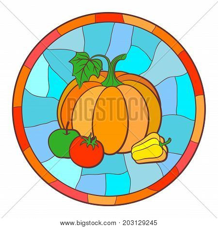 Still life with pumpkin sweet pepper tomato and green apple. Vector illustration in stained glass style
