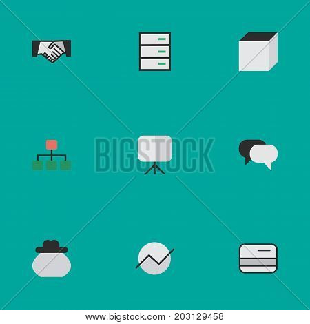 Elements Diagram, Structure, Square And Other Synonyms Meeting, Credit Card And Increase.  Vector Illustration Set Of Simple Trade Icons.