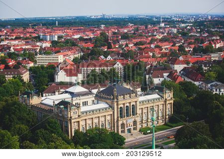 Beautiful Super Wide-angle Summer Aerial View Of Hannover, Germany, Lower Saxony, Seen From Observat